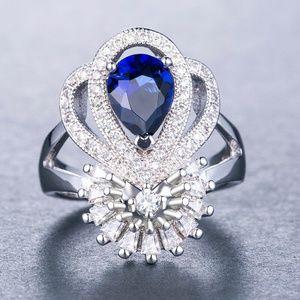 Gorgeous Ring 925 Silver Pear Cut Blue Sapphire